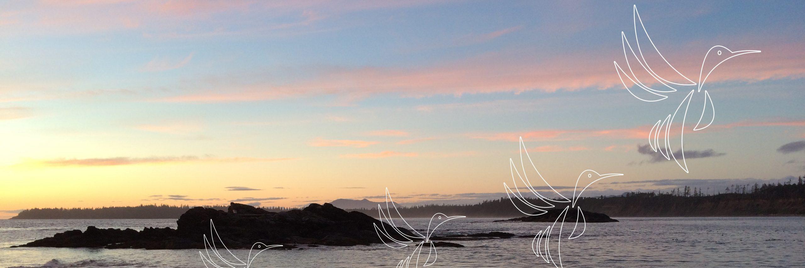 Birds taking flight - inland lakescape