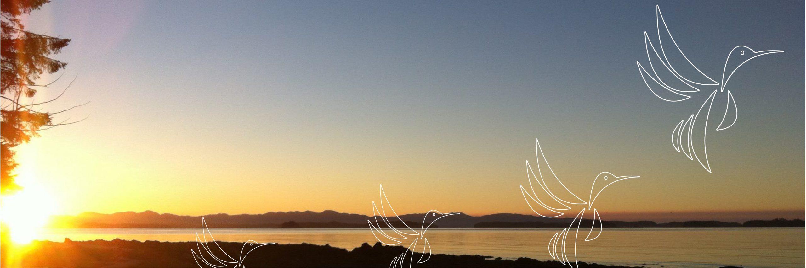 Birds taking flight- Lake view at sunrise